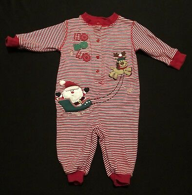 Miniwear Classics Red White Christmas Santa One -Piece Sleeper Size 6-9 Months