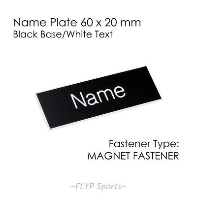 Name Badge Tag Plate Black/White Magnet 60x20mm Personalised Engraved Employee