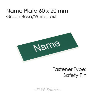 Name Badge Tag Plate Green/White Safety Pin 6x2cm Personalised Engraved Employee
