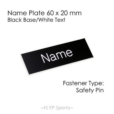 Name Badge Tag Plate Black/White Safety Pin 6x2cm Personalised Engraved Employee