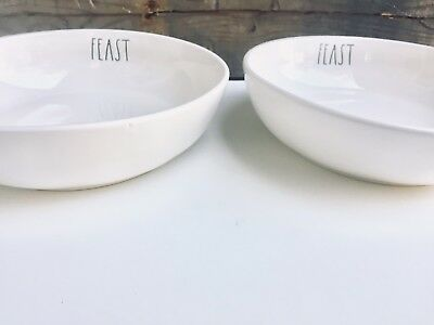 Rae Dunn FEAST Pasta Bowls Set Of Two Thanksgiving New HTF