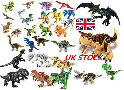 "UK Jurassic World XXL Large Size Dinosaur 7x11"" Figure Blocks Fit Lego Toys Set"