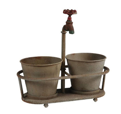 "Iron Faucet 13.75"" x 14"" Aged Bronze Metal Planter Vintage-Inspired Aged Look"