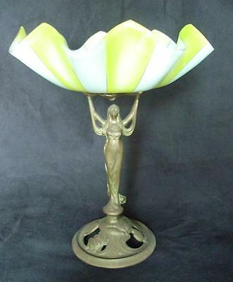 Antique Art Deco - Art Nouveau Lady Figure With Fruit Bowl - Stunning