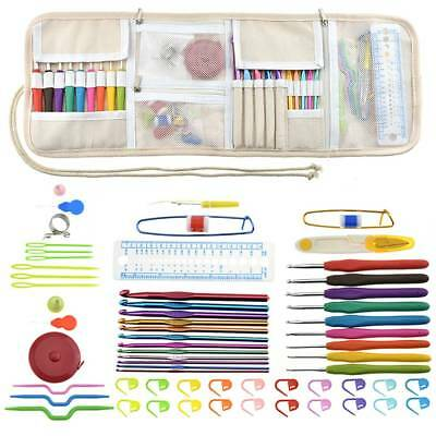 64pcs Crochet Hooks Knitting Needles Set Aluminum Weave Craft Knit Yarn Kits Bag
