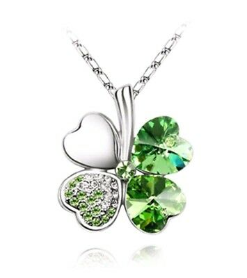 New Four Leaf Clover Silver Pendant Necklace Lucky Irish 4 *St Patricks Day Gift