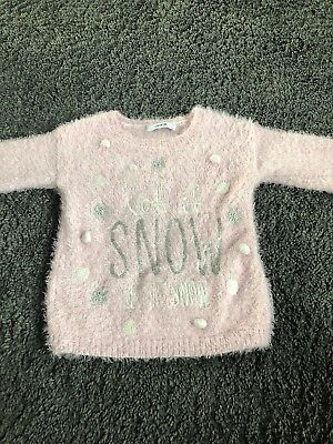George Girls Let It Snow Pink Fluffy Christmas Jumper Age 2-3