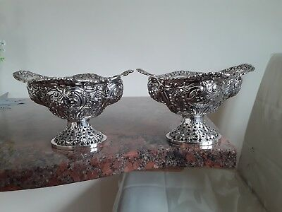 Pair Of Antique English Solid Silver Baskets