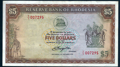 Rhodesia 1978 $5 Replacement Y/1 Note Lions & Giraffe