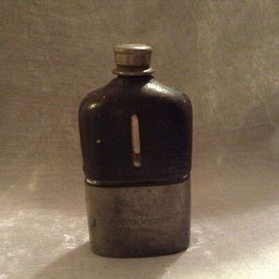 Antique Black Label Scotch Pewter Leather Hip Flask