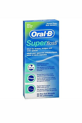 Oral B Super Floss Dental Floss Braces Bridges Wide Spaces 50 Pre-Cut Strands