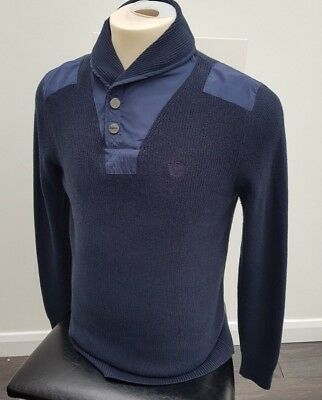 Lacoste Sport Mens Jumper Sweater Size 4 L Navy Blue White Striped