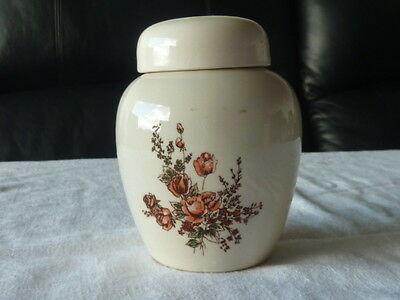 Small Lidded Ginger Jar Cream With Floral Pattern  Taiwan 1990 Original Sticker