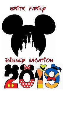 Disney Family Vacation Mickey Castle  2019 Personalized T-Shirt Iron On Transfer