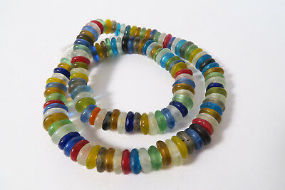 1 Strang Recycling Glasperlen Spacer 11mm Mix Colours Ghana Powder Glass Beads