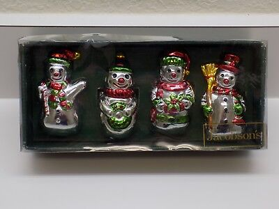 Jacobson's Silver Snowman Napkin Ring Holders Christmas Holiday Set of 4