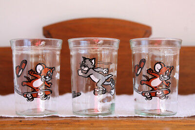 Vintage Welch's TOM & JERRY Jelly Glasses 1990 Turner Entertainment - Lot of 3