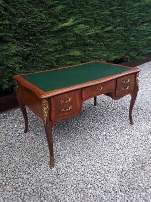 Superb king wood and walnut Louis XVI style bureau plat desk writing table