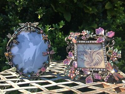 Enamel and Rhinestone Silvertone Metal 🦋 Butterfly Dragonfly Picture Frames