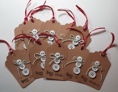 Christmas Gift Tags Handmade.Set Of 10 Handmade Christmas Gift Tags Button Snowman