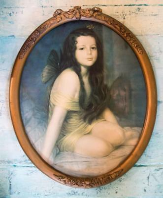 Vintage Antique Lithograph Print Kneeling Fairy Girl Butterfly Wings Oval Frame