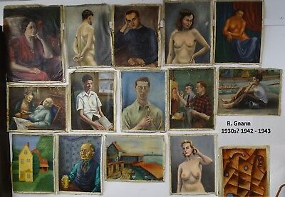 FRESH Newly DISCOVERED Paintings Archive  Artist R Gnann 1942 WPA? Oil on Canvas