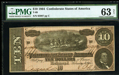T-68 1864 $10 Confederate States of America PMG 63 Choice UNCIRCULATED  PF-38 R3