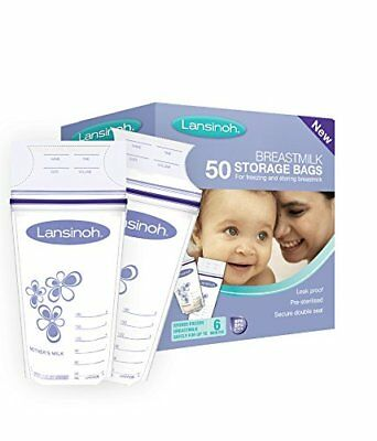 Lansinoh Breastmilk Storage Bags Pre Sterilised with Two Zippers Seal 50 Pieces