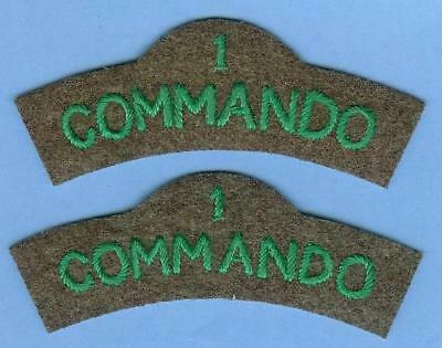 British Army Reproduction Patch Title Pair--1 COMMANDO Green on Khaki--LAST PAIR