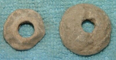 LOT OF 2 ANCIENT ROMAN  LEAD SPINDLE WHORL  1- 3rd CENTURY AD Ref.261