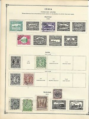 India Feudatory States Used Stamps Lot Gwalior Charkhari Hyderabad Patiala