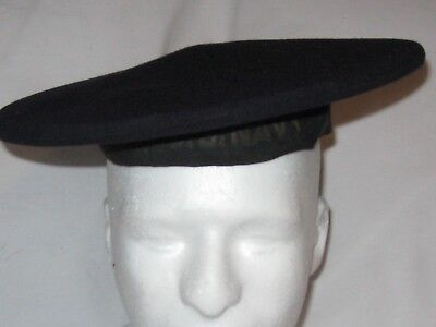 U.S. Navy Blue Wool Flat Hat  named with wire band