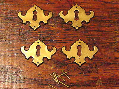 4 Vintage Brass Escutcheon Oval Keyhole Covers