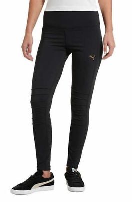 New Women's Puma Moto Tight Black Gold Leggings Workout Wear