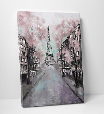Eiffel Tower Paris City Pink Watercolour Abstract Canvas Wall Art Picture Print