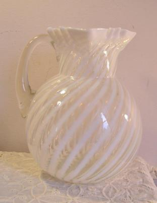 Antique Dugan Swirled Opalescent Glass Water Pitcher Blown Glass Handle