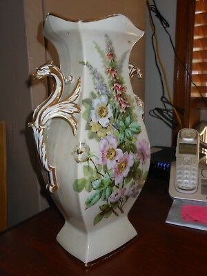 """two handled Limoges vase 14"""" tall with Phoenix Bird Handles white with Florals"""