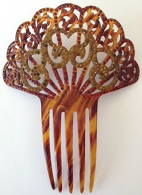Vintage Faux Tortoise Shell And Rhinestone Hair Comb C1