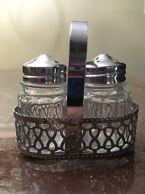 Vintage Salt and Pepper Shakers Clear Glass with Stainless Top Lids and Basket