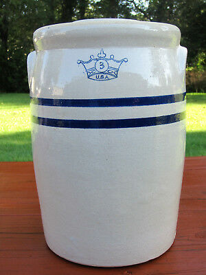 Vintage USA Crown Pottery 3 Gallon Stoneware Butter Churn Crock Jar Blue Stripe