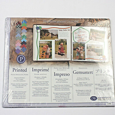 Creative Memories Photo Mounting Paper Pack 20 Sheets 10 X 12 Printed New Sealed