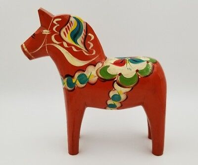 "Large Vtg 10"" Dala Swedish Wooden Horse Hand Painted Orange Nils Olsson *nice!"