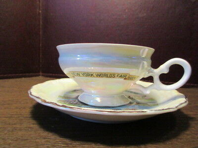 NEW YORK 1964-1965 WORLDS FAIR CUP AND SAUCER UNISPHERE - Opalescent