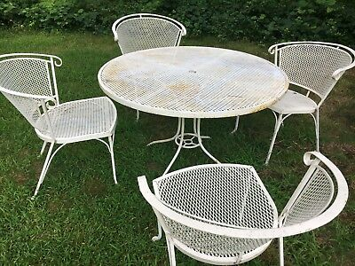 Vintage Wrought Iron Patio Table & 4 Chairs