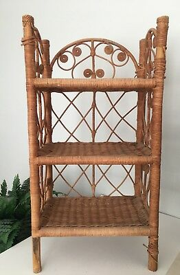 Vintage Wicker Rattan Bamboo 3 Tier Book Shelf Boho Plant Shelf