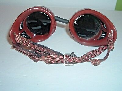 Vintage Welsh Mfg Co welding goggles steampunk glasses Green & Clear lenses #2