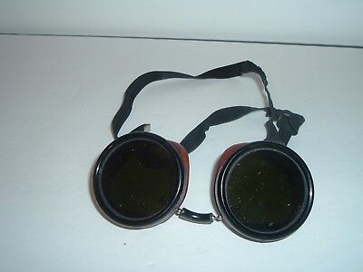 Vintage Welsh Mfg Co welding goggles steampunk glasses Green & Clear lenses