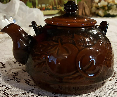 Vintage Japanese Teapot Brown Glaze Red Clay