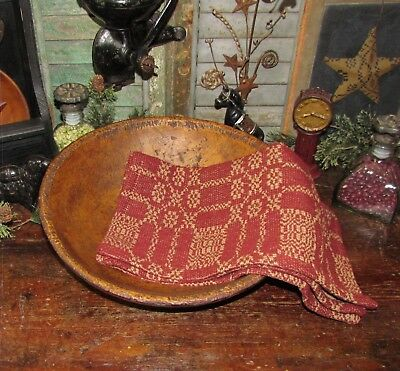 Prim Antique Vtg Style Bayberry Red Tan Cotton Woven COVERLET RUNNER AQ65SR