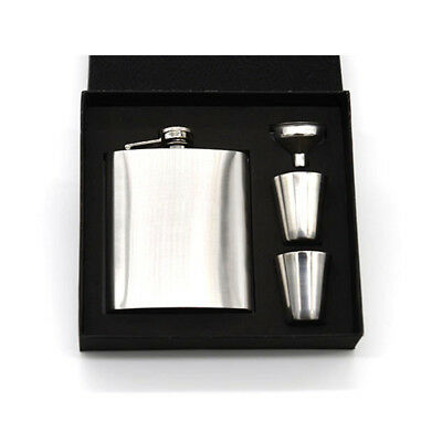 7oz Stainless Steel Hip Flask Liquor Whiskey Drink + Cups + Funnel Set Mens Gift
